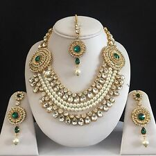 GREEN GOLD INDIAN KUNDAN COSTUME JEWELLERY NECKLACE EARRINGS SET PEARLS NEW 106