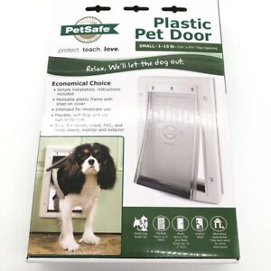 Pet Cat Dog Plastic Door Tinted Vinyl Flap Durable Paintable White Frame Small