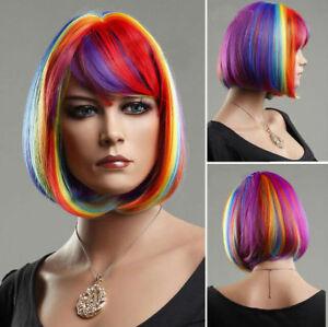 dWomen Wig Short Multicolor Rainbow Straight BOB Cosplay Party Hair Full Wig