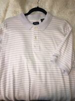 Mens Izod Large Purple Lavender Striped Short Sleeve Polo Rugby Style Shirt