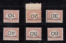 ITALIA COLONIE SOMALIA 1926 Segnatasse SOVRASTAMPA E CIFRE CAPOVOLTE SS 42a/47a