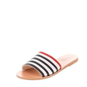 ANCIENT GREEK SANDALS Leather Slide Sandals Size 40 UK 7 US 10 HANDMADE Striped