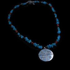 QVC QT .925 Sterling Silver Turquoise Onyx Coral Indian Symbol Pendant Necklace