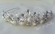 Elegant Tiara Swarovski crystals, pearls, flowers. Bride wedding bridal prom uk