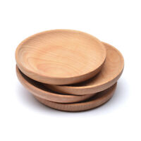 Wooden Round Plates Fruit Cake Tea Coffee Dessert Sushi Dish Food Serving Tray