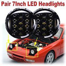 "CREE 7"" inch LED Headlamp 2× Headlights Black Upgrade Light Kit for Porsche 944"