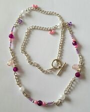 New Handmade Silver Plated Curb Chain Necklace with Acrylic Glass Round Beads