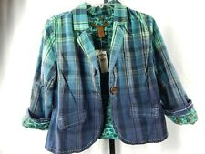 Old Navy Plaid 3/4 Sleeve Fitted Shirt Jacket Blazer Paisley Top Punk Stitched M