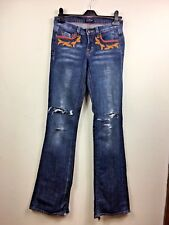 People 4 Peace blue denim Jeans embroidered Distressed UK10 Long L34 rrp£130 AG