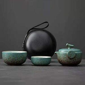 Ceramic Gongfu Travel Tea Set - Gorgeous Chinese Teapot Set with 2 Tea Cups P...
