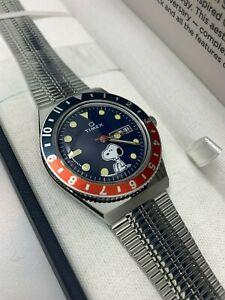 Brand New Q Timex Reissue x Peanuts Snoopy 70th Anniversary Pepsi Bezel Watch
