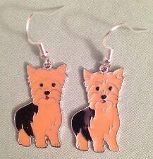 Yorkshire Terrier Dog Earrings - Enamel with Sterling Silver Ear Wires Yorkie