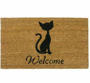 Meow Cat Coir Welcome Mat Brown Patio Porch Mat