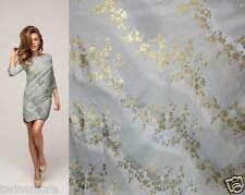 2 yards golden blossom flower motif barely blue Asian brocade silk fabric gp-616