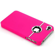New Hot Pink Deluxe Chrome Ring  Hard Case + Screen Guard for iPhone 4 4G 4S