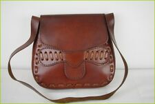 Sac Cuir Epais Marron Hippie Ethnique Fabrication Artisanale TBE