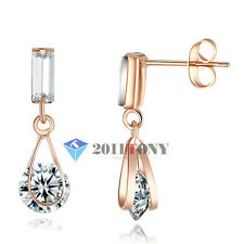 Simulated Diamond Dangle Earrings 18K Rose Gold Plated Womens Costume Jewellery