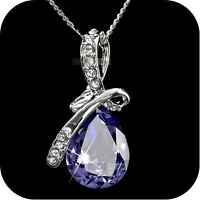 18k white gold made with purple SWAROVSKI crystal pendant wedding necklace