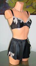 NWT Felina SIMONE Silk Bra / Short, 34C / S Black