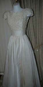 Bridal Gown size 10 in Ivory Dupion silk