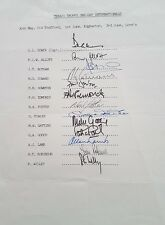 ENGLAND TEXACO TROPHY MID 80s SIGNED A4 SHEET Inc BOTHAM GOWER GOOCH LAMB ETC