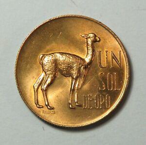 1966 Peru 1 Sol de oro Brass Unc Coin Llama KM248 Great Details Luster Vicuna