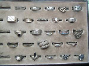 Konvolut Ringe Silber 800-925 Art Deco