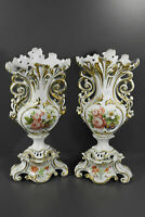 PAIR antique French vieux paris old porcelain Vases floral decor