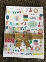 Birthday Card For Anyone Fun Cake Balloons Hat Candles Glittery GolBow Handmade