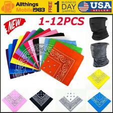 3-12PCS Bandana New 100% Cotton Paisley Print Bandanna Scarf Handkerchief