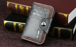 Mens Men's S4 Retro Leather Vertical Section Credit Card Holder Wallet with Hasp