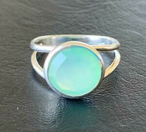 925 Sterling Silver Aqua Chalcedony Large Round Gemstone Solitaire Ring Stack 67