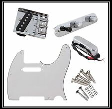 White Prewired Guitar Pickguard Bridge Control Single Coil Pickup Kit Guitar