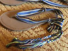 Women's 7 Target Sam & Libby Blossom Braided Wrap Gladiator Sandals Blue yellow