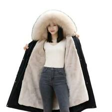 Winter Snow Parka Women Faux Fox Fur Lined Fur Collar Hooded Outdoor Warm Coat L