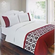 Flocked Damask 4 Piece Complete Double Bed Set
