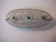 14K Pin Gold & Platinum Art Deco Emeralds Filigree Signed 3.5 GRAMS