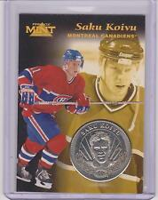 RARE 1996-97 PINNACLE MINT SAKU KOIVU SILVER / NICKEL COIN & CARD #9 ~ CANADIENS