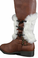 Women Boots Covers Toppers Pair White Faux Fur Slip On Booties High Heels White