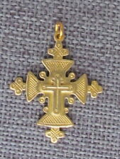 "Old Hutsul 3D Cross Pendant, Regular Brass, 1 1/4""X 1"" #9"