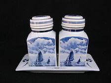Vintage Delft Blauw Holland Blue Ceramic Canister Jar Set.Sail Boat Windmill