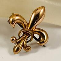 Victorian Edwardian Vintage Fleur de Lis Watch Holder Gold Tone Brooch Pin 20a2
