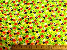 Vintage Quilting Cotton Tiny Daisy Floral Red Yellow Green Black 3 Piece Lot  .