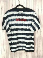 Guess Originals Men Black/offWhite Striped Over-sized 100% Cotton T-shirt Size M