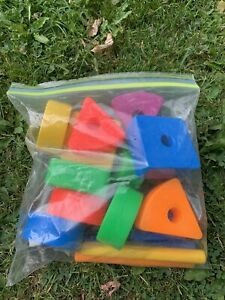VINTAGE FISHER PRICE CREATIVE BLOCKS SHAPES WITH STICKS CIRCLE TRIANGLE SQUARE
