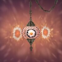 """Mosaic Lamp,15 feet chain chandelier hanging on the ceiling(6.5"""" Lilac Globe)"""