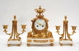 Ormolu and Marble Boudoir Antique French Clock Set by Vincenti C1860