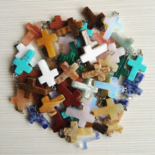Fashion charm mix Cross Natural stone Pendants for jewelry making necklace 50PCS