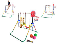 Kids Jungle Gymnastics Monkey Bar Indoor Child W Basketball Swing Ring Play SET