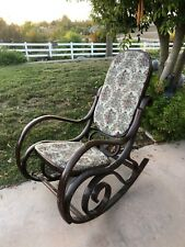 THONET STYLE BENTWOOD ROCKING CHAIR WITH UPHOLSTERED TAPESTRY SEAT AND BACK